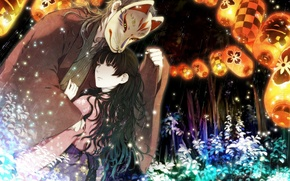 Picture forest, girl, night, mask, guy, two, lanterns