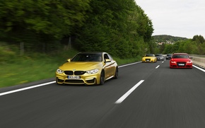 Picture audi, BMW, turbo, red, wheels, Coupe, blue, power, speed, germany, angel eyes, show, yelow, F82.tuning