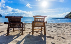 Picture The sky, Sand, Beach, Chair, Tropics, Coast, Philippines