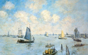 Picture sail, seascape, The sea in Amsterdam, boat, ship, picture, Claude Monet