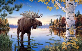 Picture autumn, forest, lake, house, the reeds, birch, painting, pine, moose, Mark Daehlin, Autumn Majesty