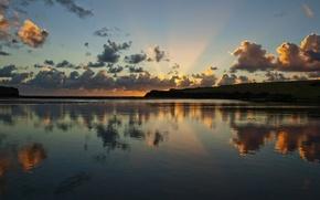 Wallpaper clouds, reflection, river, sunrise
