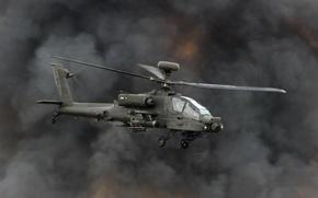 "Wallpaper helicopter, smoke, shock, AH-64, ""Apache"", Apache, main"