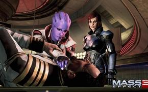 Picture Shepard, Mass Effect 3, DLC Omega, Aria T Of Look, choking, Female Shepard, General Petrovsky