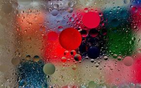 Picture glass, light, bubbles, color, oil, liquid, the air