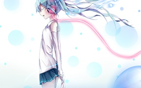 Picture water, girl, headphones, art, wire, vocaloid, hatsune miku, Vocaloid, paparins