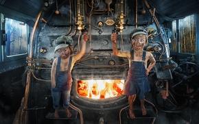 Picture children, girls, the engine, furnace, firemen