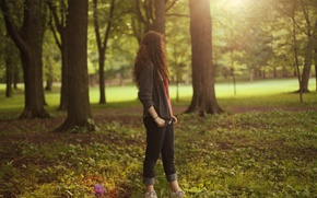 Picture autumn, grass, leaves, girl, the sun, trees, nature, beauty, wallpapers, Wallpaper for desktop