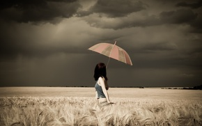 Picture Girl, Clouds, Model, Storm, Female, Umbrella, Photo, Woman, Background, Field, Long Hair, Human, Top, Multi-Monitors, …