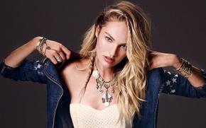 Picture girl, decoration, face, model, hair, jacket, blonde, Candice Swanepoel, Candice Swanepoel, denim