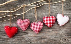 Picture Board, heart, rope, hearts, red, white, thread, figures, fabric