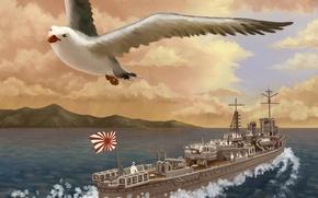 Picture sea, bird, ship, Seagull, art