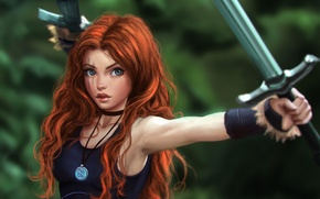 Picture look, girl, face, sword, warrior, medallion, red