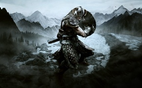 Picture snow, sword, warrior, shield, the elder scrolls, Skyrim