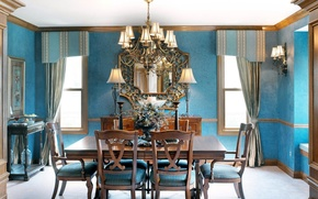 Picture flowers, blue, design, style, table, blue, furniture, Windows, lamp, chairs, interior, bouquet, mirror, beautiful, kitchen, ...
