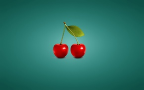 Picture cherry, minimalism, blue background, cherry, cherry, two pieces