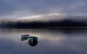 Picture water, fog, dawn, boats, morning