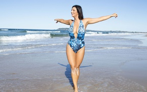 Picture sand, sea, swimsuit, girl, brunette, Scarlett Morgan