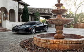 Picture house, black, fountain, F430, Ferrari, supercar, Ferrari, Black