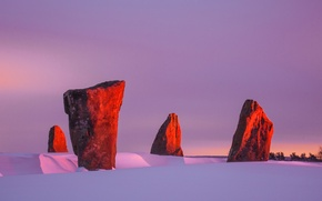 Wallpaper winter, the sky, snow, sunset, stones, megaliths