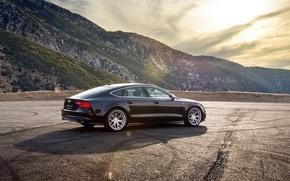 Picture mountains, Audi, Audi, black, wheels, black, rearside