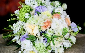 Picture bouquet, gentle, Roses, Roses, Buttercup, Hydrangea, Eustoma, Bouquets