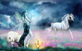 Picture magic, horse, wolf, fairy