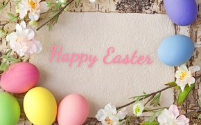 Picture flowers, tree, eggs, spring, Easter, pastel, happy, flowers, spring, eggs, easter, pastel