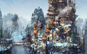 Picture bridge, balloon, rocks, fire, smoke, robot, soldiers, fortress, the battle, game, combat, Rise of Nations