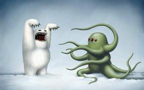 Picture winter, snow, figure, octopus, monsters, Yeti, rob sheridan, black humor, scare, three eyes