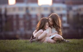 Picture children, hair, girls, bokeh