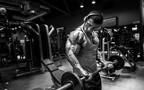 Picture sport, body, headphones, black, athlete, hall, muscle, muscle, rod, black and white, athlete, biceps, gym, …