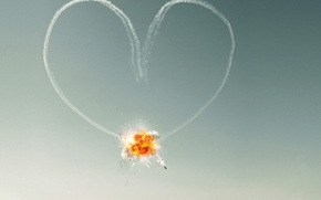 Picture the sky, love, the explosion, heart, Love, aircraft