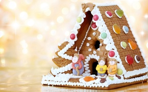 Picture holiday, new year, cookies, figures, dessert, sweet, bokeh, delicious, glaze, gingerbread house, Wallpaper from lolita777, …