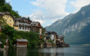 Wallpaper Austria, Alps, home, Hallstatt, lake, lake, Austria, alps, Hallstatt, building