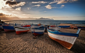 Picture mountains, lake, boats, pier, Italy, ITALY, Sicily