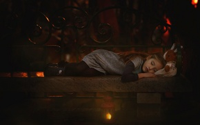 Picture toy, lamp, sleep, girl, bench