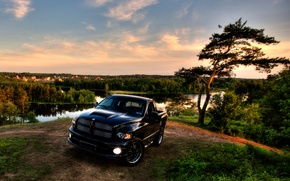 Picture HDR, Black, Trees, Dodge, Jeep, Landscape