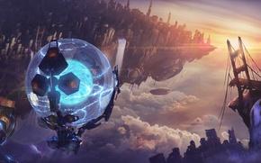 Picture bridge, fiction, ball, art, destruction, the rift, sci-fi