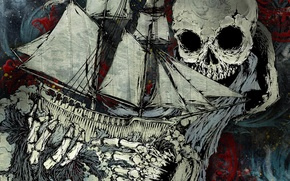 Picture skull, picture, Ship, the bare bones