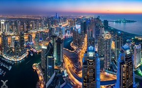 Picture lights, the evening, Dubai, skyscrapers, UAE, Goro