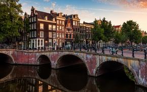 Picture bridge, the city, river, building, home, Amsterdam, channel, Netherlands, Amsterdam, bikes, Nederland