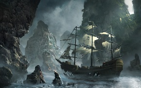 Picture sea, wave, the sky, clouds, rocks, ship, sailboat, Bay, art, storm, sea, art, rocks, Michal …