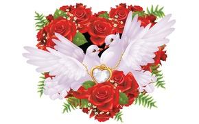 Picture love, heart, minimalism, art, pigeons, wedding
