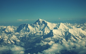 Wallpaper the sky, clouds, snow, landscape, mountains, view, mountain, Everest, mountains
