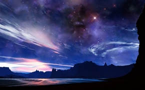 Wallpaper space, stars, Mountains