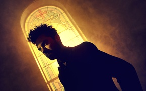Picture horror, yellow, cross, man, window, supernatural, AMC, church, TV series, stained glass, black comedy, pastor, ...