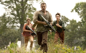 Picture girl, gun, forest, wanted, soldiers, trees, weapon, woman, man, boy, couple, brothers, rifle, run, vegetation, ...