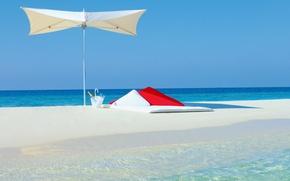 Picture sand, beach, background, the ocean, widescreen, Wallpaper, umbrella, wallpaper, the Maldives, champagne, beach, ocean, umbrella, …