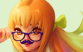 Picture mustache, look, girl, mood, art, glasses